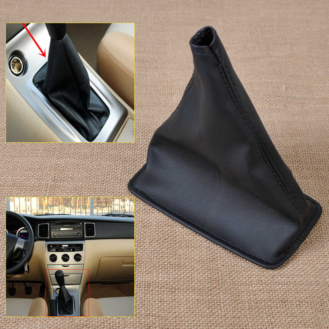 beler New Gear Stick Shift PU Leather Cover Boot Gaiter for Toyota Corolla 2001 2002 2003 2004 2005 2006 2007 2008 2009-2013