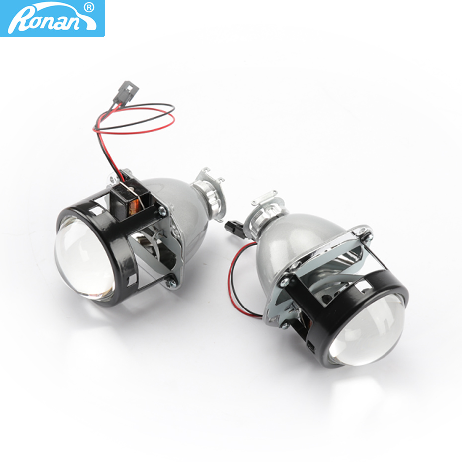 RONAN Full Metal Bracket Bi Xenon Projector Headlights Lens 2.5inch LHD RHD use xenon H1 for H4 H7 car headlight Retrofits 2 5 rhd lhd car motor bi xenon for hid projector halo lens angle eye headlights bulb shroud h1 h4 h7