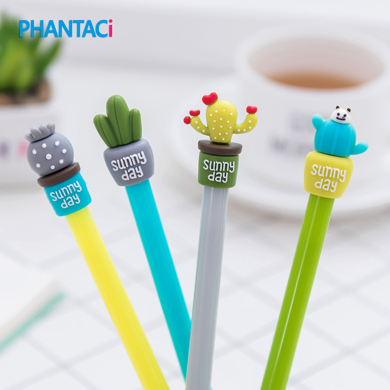 Gel Pens Office & School Supplies 4 Pcs/lot Korean Cute Sunny Day Cactus Pens Novelty Advertising Kids Student Gel Pen Gifts School Office Stationery Supplies