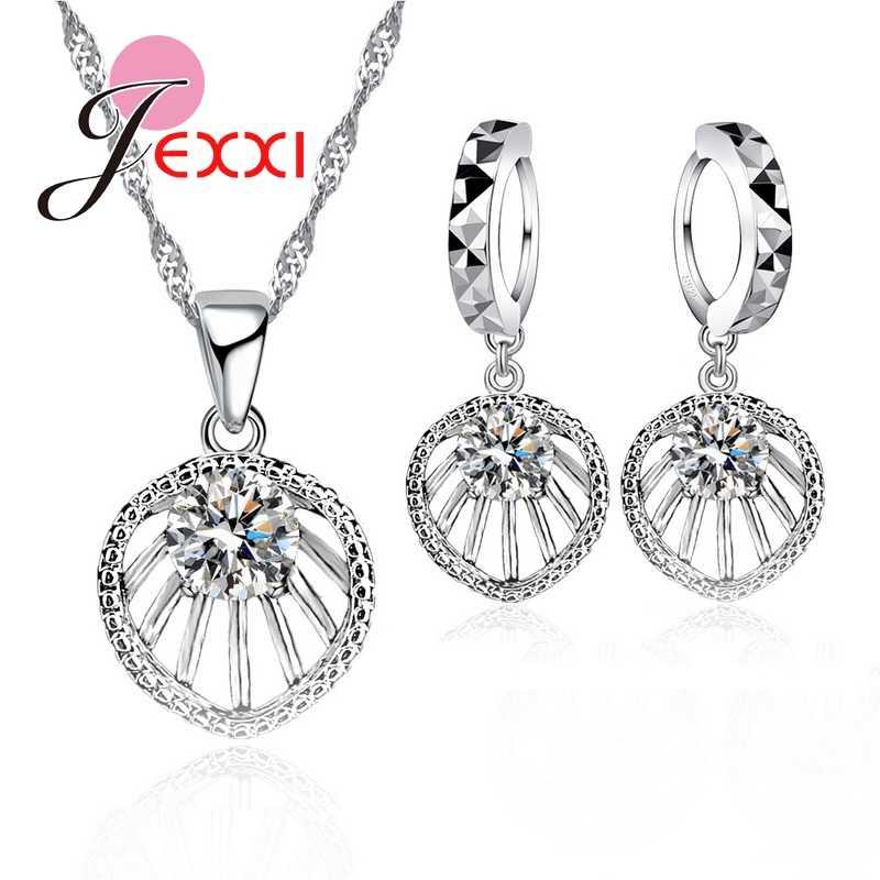 925 Sterling Silver Perhiasan Set A + + + Kubik Zirconia Liontin Fashion Liontin Rantai Set untuk Wanita Pernikahan Dekorasi