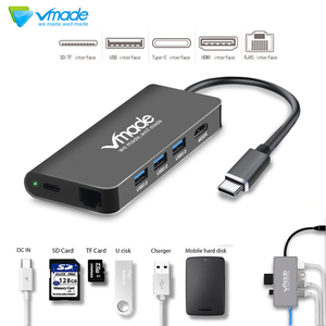 Vmade Type C Cable Adapter 5Gbps RJ45 PD Thunderbolt 3 for Apple MacBook Galaxy Huawei Matebook Pro Type-C USB 3.0 HUB