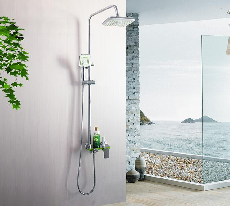 Simple Placed bathroom producks shower faucet chrome, Shower faucet shower head set, Copper shower faucet stainless steel hoses