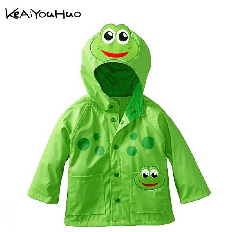 KEAIYOUHUO Lovely frog beetles pattern rain age season rainy breathable waterproof girls boys coat children s