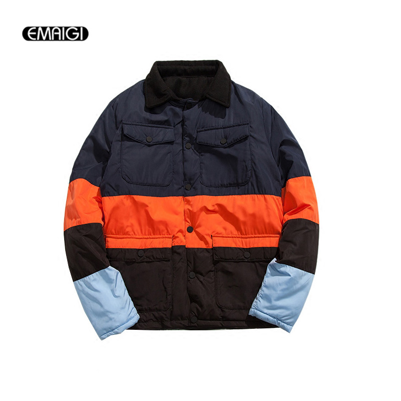 Street Fashion Men s Winter Thicken Parkas Jacket Splice Color Students Cotton Padded Jacket Male Casual