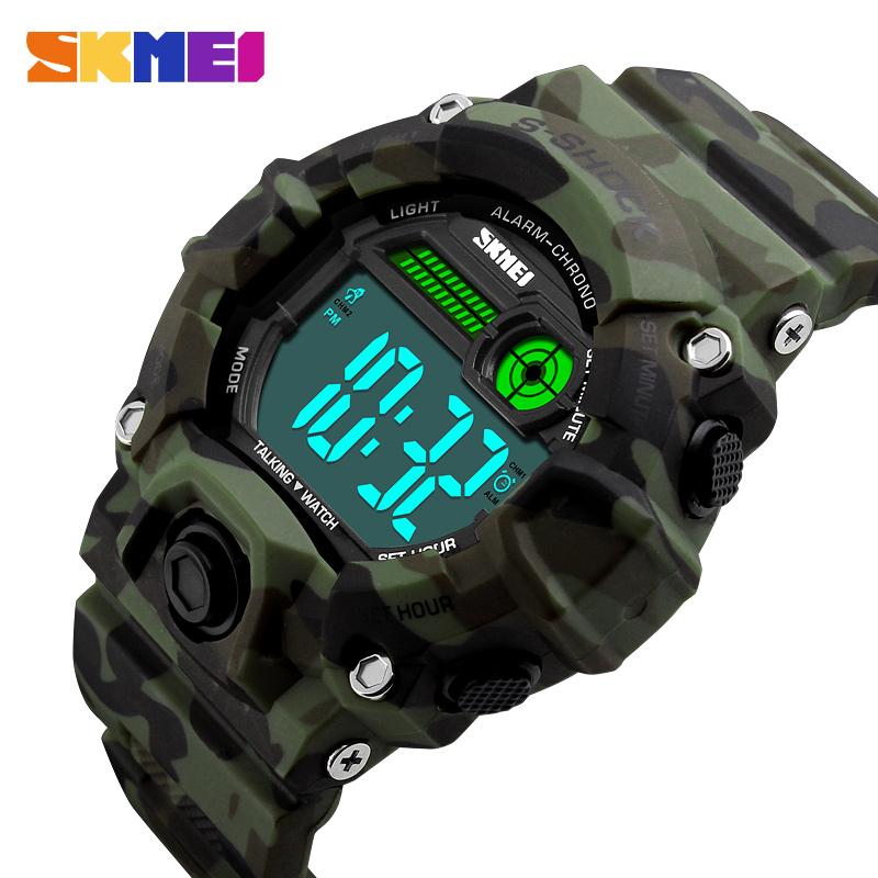 Prix pour SKMEI 1162 Hommes Femmes Russe Parler Horloge Sport Montre Numérique Horloge Extérieure EL Lumière Sport Montres Alarme Relogio