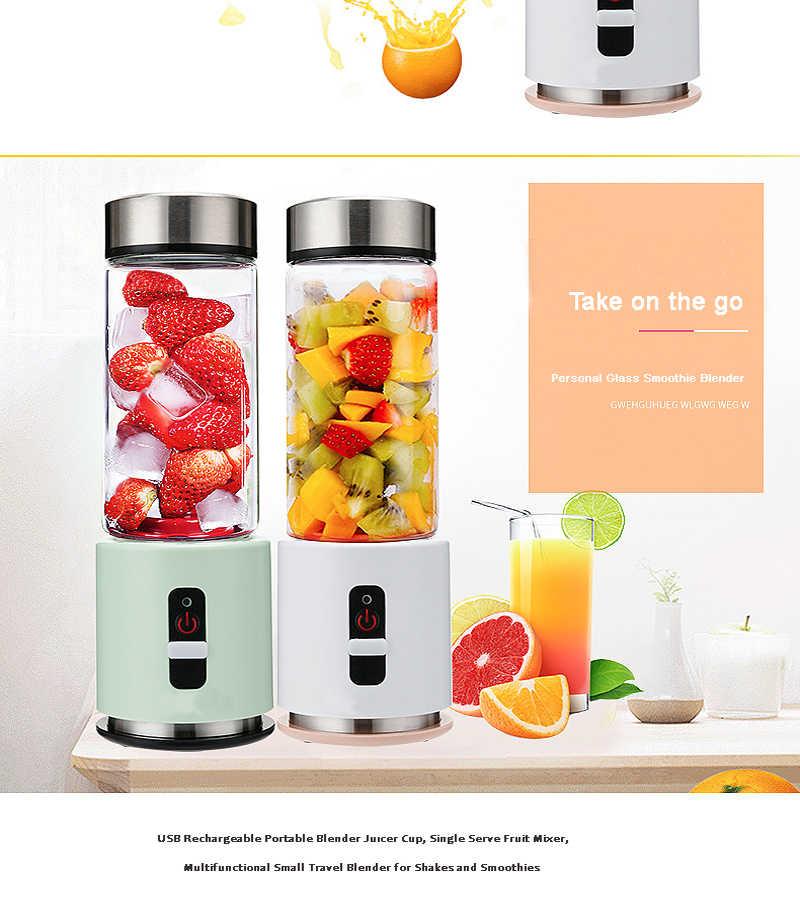 Liquidificador BPA LIVRE USB Portátil Recarregável 4000mAh Bateria Espremedor Liquidificador Smoothie de Pessoal 380ml De Vidro Copo de Viagem Misturador de Frutas