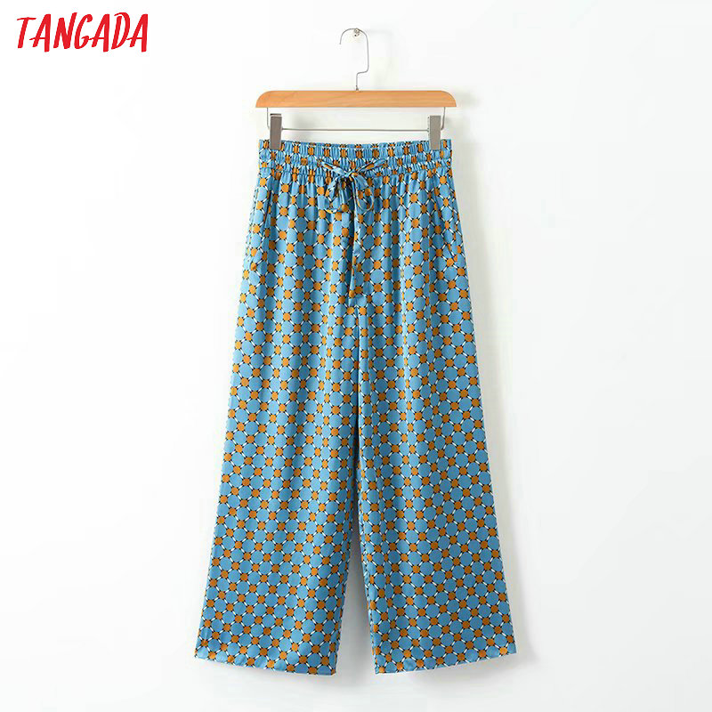 Tangada summer woman geometric print blue   wide     leg     pants   bow tie pocket retro female streetwear casual trousers mujer XD313