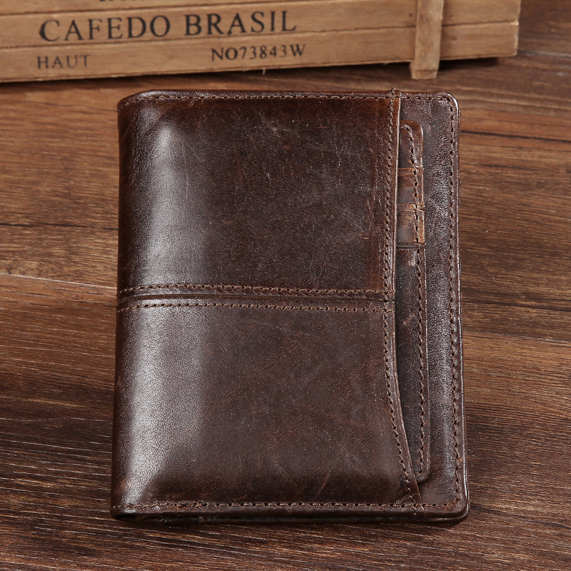 Mens Leather Wallet Doka Bit Retro Short Wallet Oil Wax Leather Wallet Leather Men Wallet