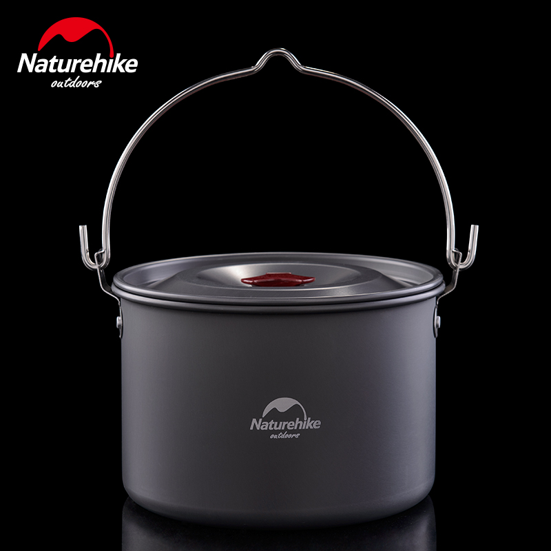 Naturehike 4L Camping Cookware For 4 6 Person Hanging Big Capacity Pot Outdoor Tableware Picnic Campfire