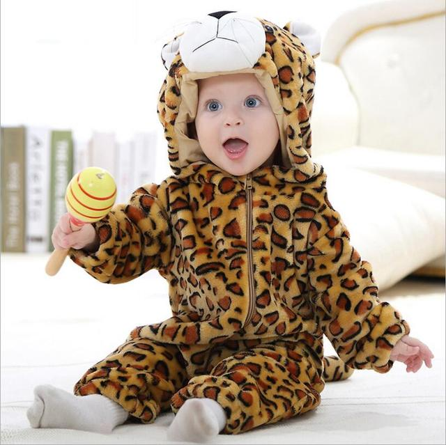 ec76248f1 Baby boy rompers unisex girls clothes leopard Cartoon Jumpsuit ropa bebe  Pajama Spring Children clothing coral