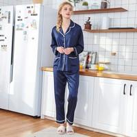 2 Piece Women Sleepwear Faux Silk Satin Pajamas Set Long Sleeve Pajamas Suit Female Homewear Silk Womens Solid Color /X