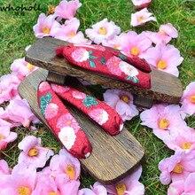 WHOHOLL Original Geta Japanese Wooden Clogs Women Kimono Shoes Low-heeled Two Teeth Handmade Sweet Cosplay Costumes Flip-Flop