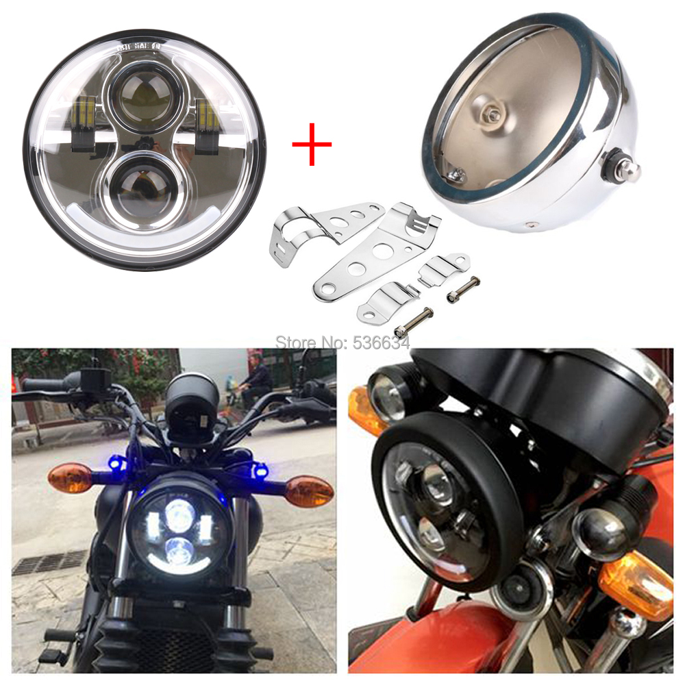 5.75 inch led Headlamp Projector Daymaker Hi/Low Beam+Headlight Housing Mounting Bracket For Dyna Super Glide T Sport FXDXT 7inch led projector daymaker headlight hi low beam led headlight mounting bracket ring for electra glide ultra classic efi