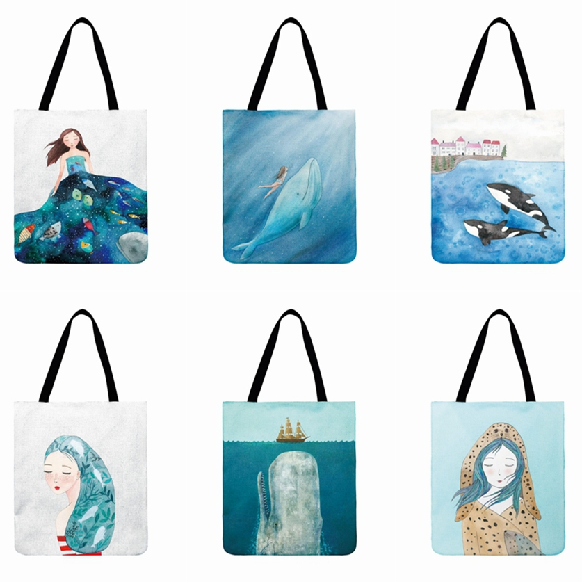 Nordic Marine Printed Tote Bag For Women Foldable Shopping Bag Cartoon Whale Casual Totes Outdoor Beach Bag Ladies Shoulder Bag