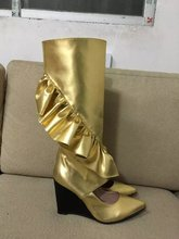 2017 Fashion Pointed Toe High Heel Botas Mujer Cut-outs Ruffles Wedge Knee Boots Spring Autumn Party Club Dress Shoes Women