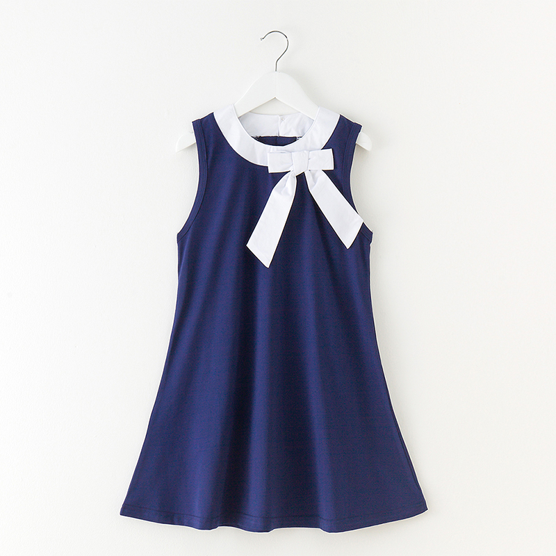 girls clothes summer dress 2018 blue sleeveless cotton bow casual knee-length baby dress for 3-12 years teenage clothes 2016 new arrival casual draped a line dress clothes with regular crew neck knee length sleeveless for baby girls kids