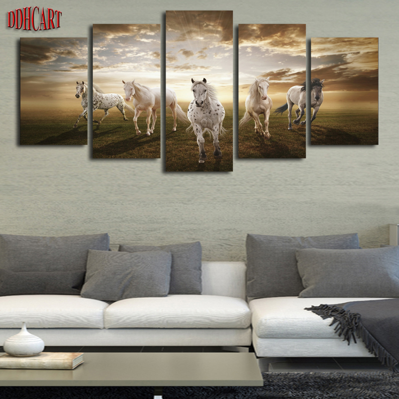 5 Piece Horses Running Picture Wall Art Picture Print on Canvas Painting for Living Room Home Decoration.