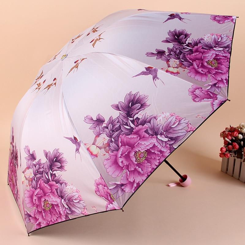 Girls Folding Umbrellas With Halloween-boo Pattern Printed Travel Umbrella