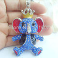 Purse Charming Elephant Key chain w Blue Rhinestone crystals KK13101103