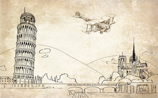 3D Photo Wallpaper Leaning Tower Pisa European Architecture Wall Painting Line Drawing TV Background Mural In Wallpapers From Home
