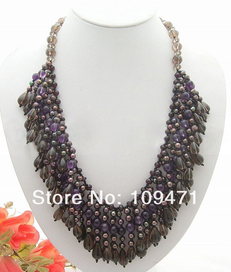 Wonderful! Natural Purple crystal @ Pearl @ Smoke Necklace