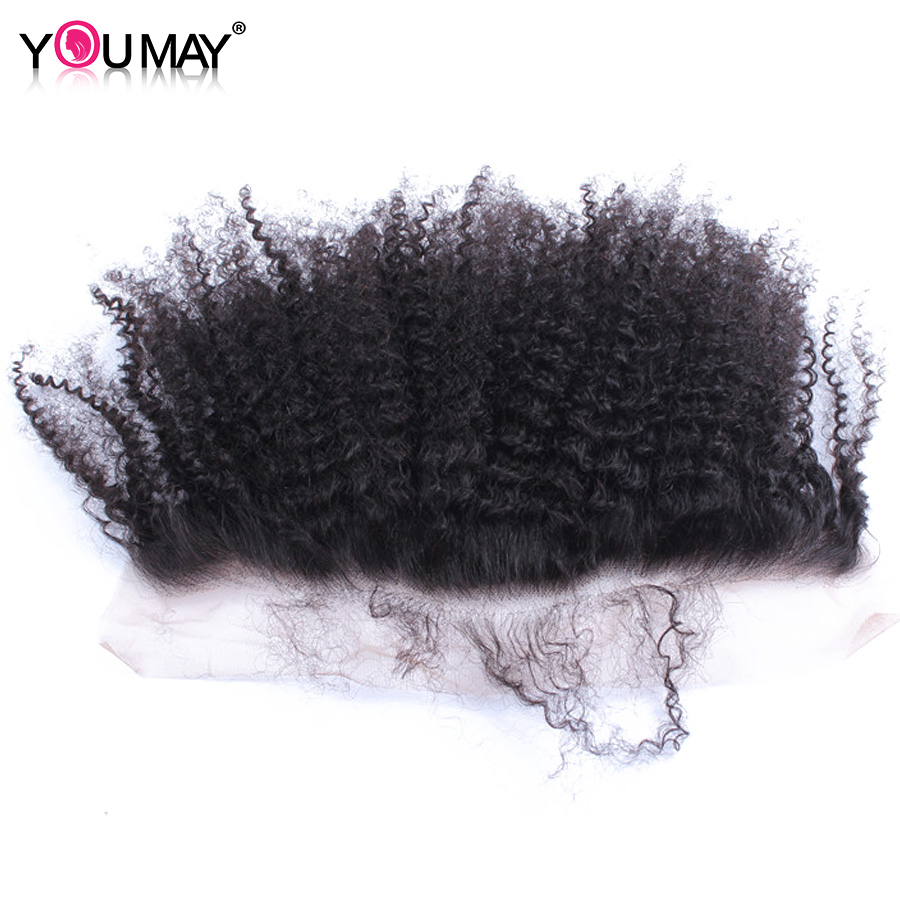 Mongolian Afro Kinky Curly 13x4 Lace Frontal Closure With Baby Hair Pre Plucked Remy Weave Human