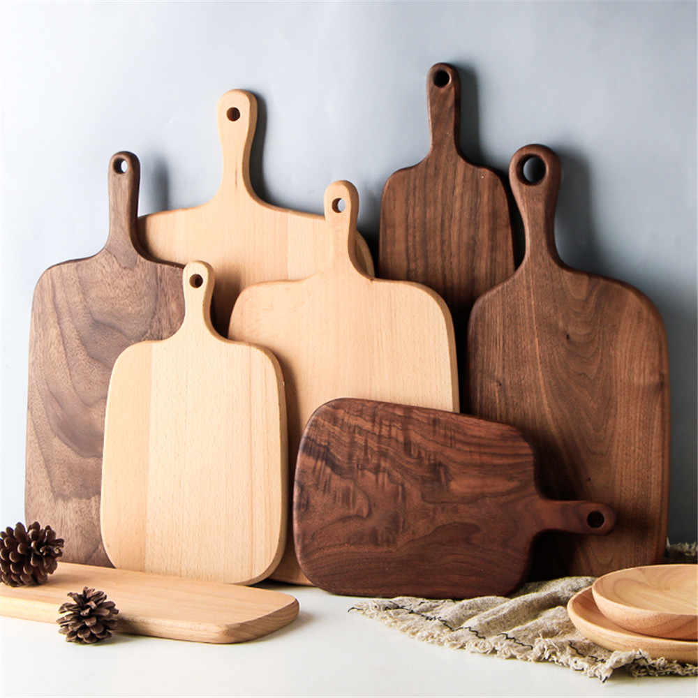 Wooden Chopping Blocks Beech Pizza Bread Fruit Vegetable Cutting Board Hangable Durable Non-slip Home Kitchen Tools Accessories