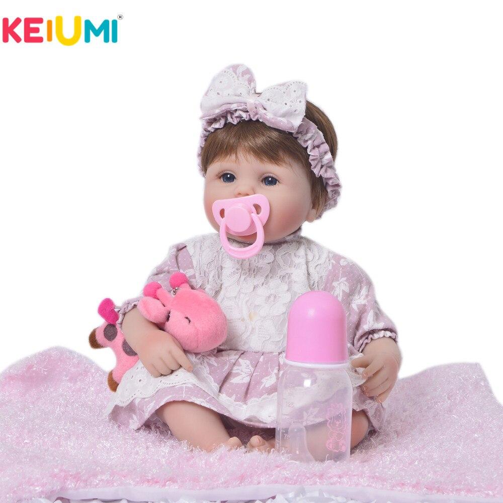 KEIUMI Realista Baby Alive Menina Boneca de Vinil Silicone Macio Renascer Boneca de Pelúcia Brinquedo Bonito Para O Presente de Aniversário Da Criança Para Dormir Jogar