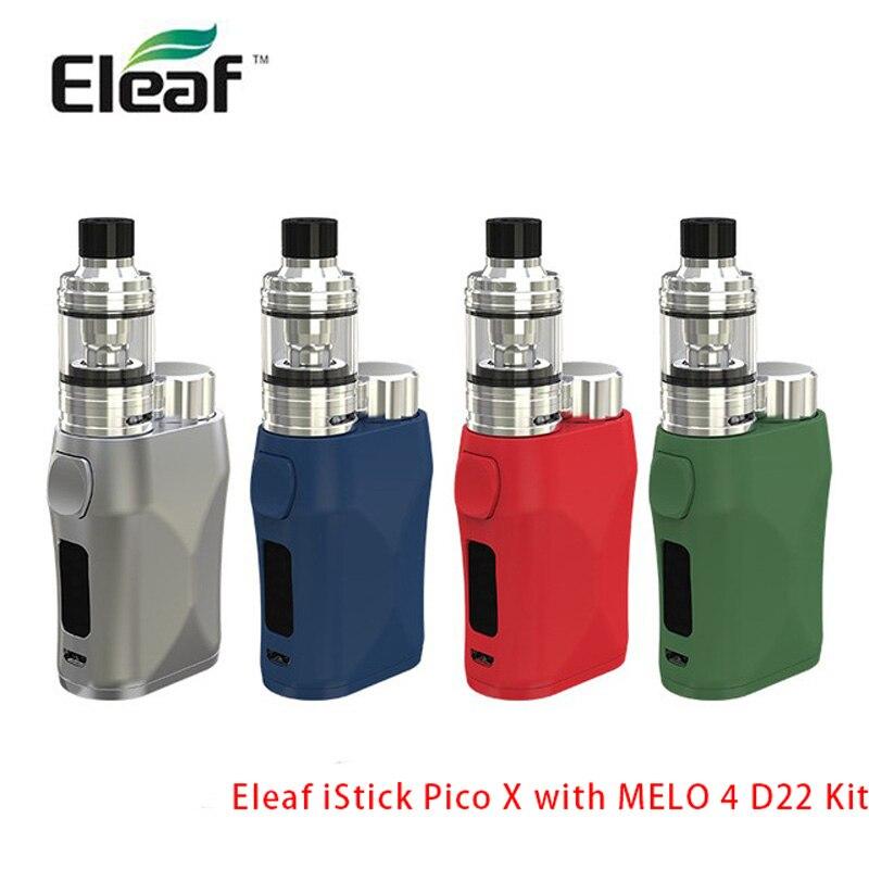 Kit d'origine Eleaf iStick Pico X 75 W avec réservoir MELO 4 D22 2 ml en bobine de EC-M 0.15ohm Cigarette électronique par kit Vape unique 18650