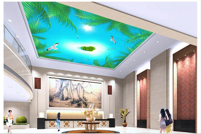 Customized 3d wallpaper 3d ceiling wallpaper The coconut tree island sea boat yearning love zenith ceiling murals wall room