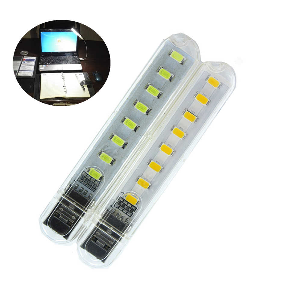 USB LED Lamp Mobile Power 8 Leds LED  Lighting Lamp For Reading Bulb Laptops Computer Notebook Mobile Power Charger