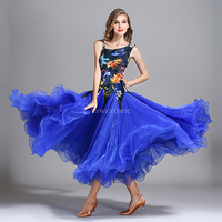 Newest Women Viennese Waltz Ballroom Dance Shirt Blue Black Yellow Quickstep Ballroom Dresses for Competition and Training