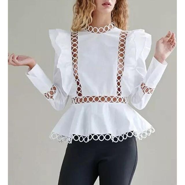 0eb26d7057c HIGH STREET New Fashion 2018 Designer Blouse Tops Women's Long Sleeve  Hollow Out Ruffle Blouse Shirt