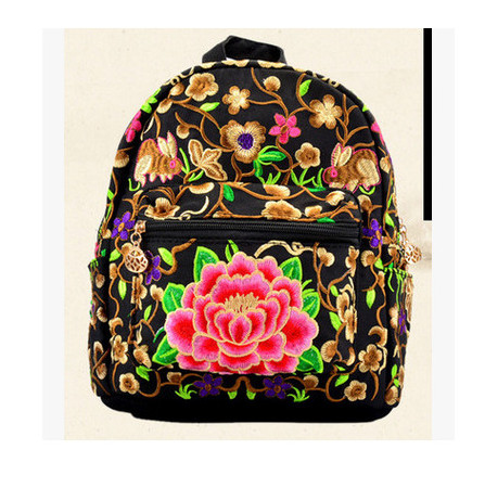 New Fashion Embroidery Women Backpack!handmade Flower Embroideried Lady Small Backrack Versatile Bohemian Backpacks For Ladies