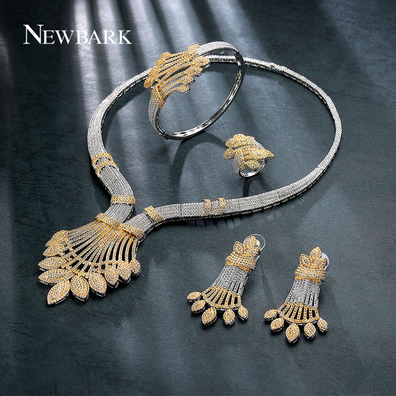 NEWBARK Plant Shape Fashion Cubic Zirconia Jewelry Set Four-piece Women Wedding Engagement Fashion Top Quality Party Accessories