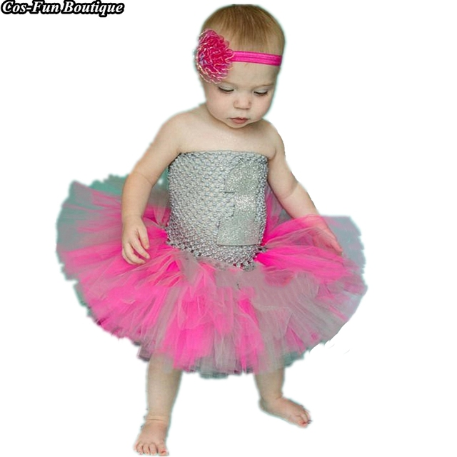 Us 14 67 9 Off 2018first Birthday Hot Pink Silver Tutu Dress Little Girls Toddler Sparkly Silver Pink Baby Girl Dress Christmas Dress For 1 14y In