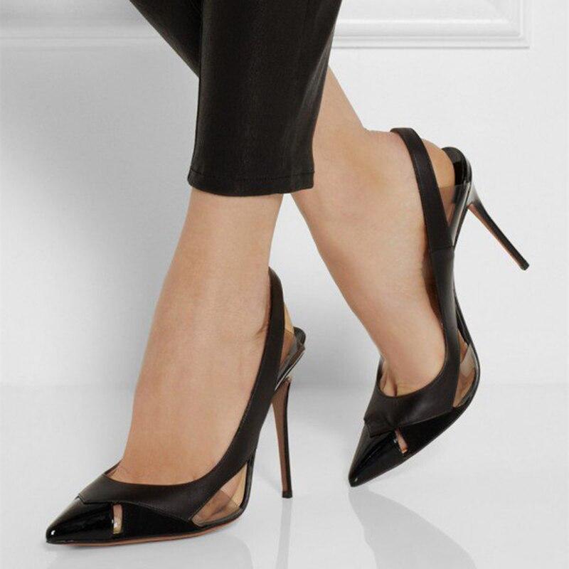 Sexy Fsj Plus Fsj01 Talons Bureau Pompes Pointu Cuir Slingback Stiletto Verni En Chaussures Transparent Femmes De Taille Dames Noir Mode wxnaOqH6f
