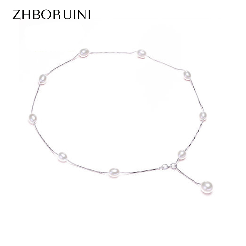 ZHBORUINI Fashion Pearl Necklace Pearl Jewelry 925 Sterling Silver Jewelry Natural Freshwater Pearl Chokers Necklace Babysbreath