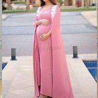 Розовые вечерние платья для беременных большой Размеры Ливан Дизайн кафтан dubai длинный рукав вечерние платья для беременных Для женщин lange