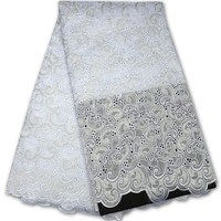 Plain White 100 Polish Cotton African Swiss Lace Fabric For Men And Women High Quality For