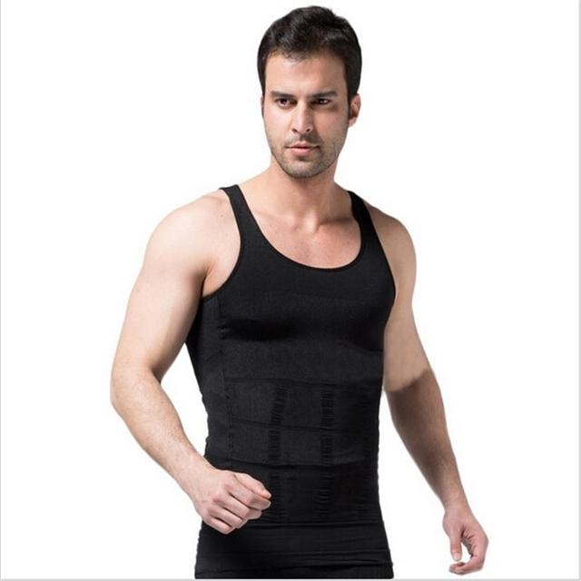 5490d04bb3b New Mens Body Shaper Lose Tummy Belly Corset Loss Weight Vest Shirts  Sleeveless Underwear Men Firm