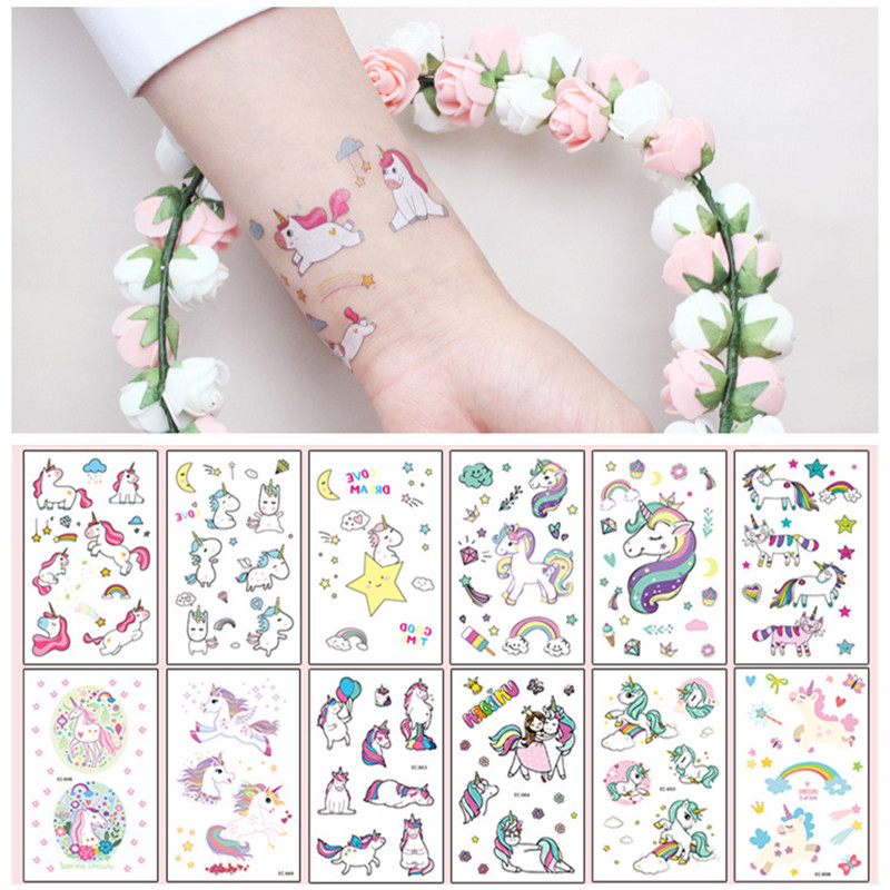 Cartoon Unicorn Tattoo Sticker For Kid Cute Colorful Fake Tatoo Children Temporaire Body Art Waterproof Temporary Tattoo Sticker