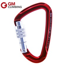 GM 5 x 24KN Rock Climbing Carabiner d Shape Aluminum Screwgate Karabiner Survival Buckles For Outdoor Rigging By CE/UIAA
