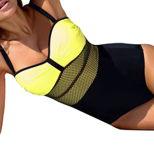 цена на 2019New Plus Size Swimwear Women One Piece Monokini Push Up Swimsuit Vintage Mesh Bodysuit Black High Cut SwimSuit Female Bikini