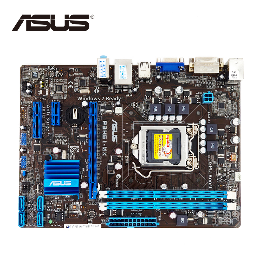 LGA 1155 ASUS P8H61-MX D'origine ASUS H61 carte mère uATX DDR3 DVI VGA 16 GB De Bureau Carte Mère P8H61-MX/R2.0/ USB3 Utilisé