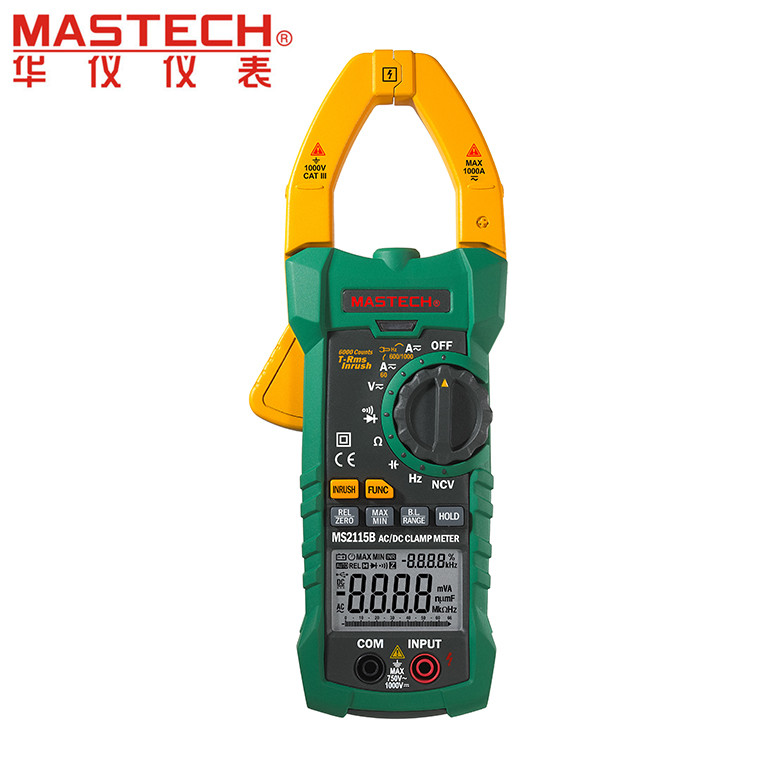 MASTECH MS2115B True RMS Digital Clamp Meter Multimeter DC AC Voltage Current Ohm Capacitance Frequency Tester with USB digital clamp meter appa a3dr with true rms reading 1pc 100