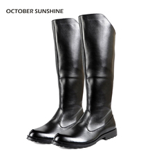 OCTOBER SUNSHINE Spring/Autumn men's Flat honor guard parade Riding boots fashion Knee High boots for men(China)