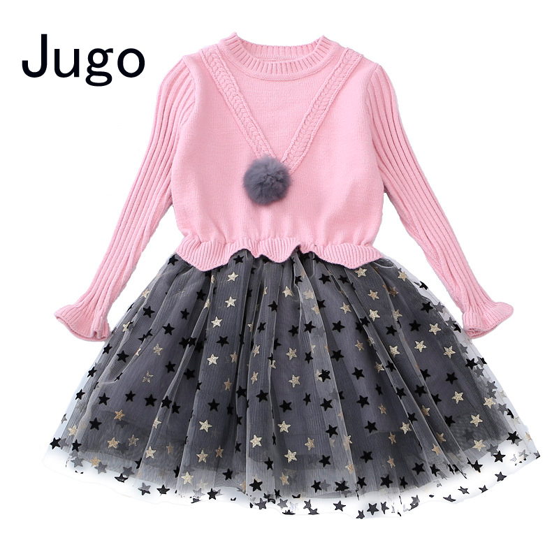 New 2017 winter autumn Children Kids Girls knitted lace tutu dress sweater princess dress for girls 4 9 6 8 10 12 years old 60 girls dress winter 2016 new children clothing girls long sleeved dress 2 piece knitted dress kids tutu dress for girls costumes