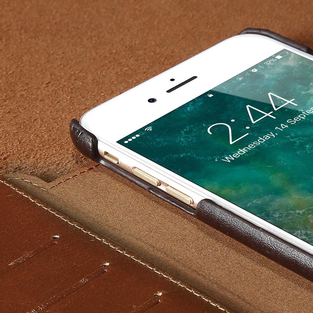 FLOVEME Ретро настоящий чехол для телефона из натуральной кожи для iPhone 6 7 6S чехол s для iPhone 6 Plus 6S Plus держатель для денег для карт откидная крышка Капа
