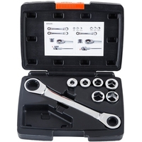 PQWN 12 In 1 Ratchet Socket Wrench Set 6 19Mm Hex Double Head Socket Wrench 40CR V Metric Auto Repair Tools 7Pcs
